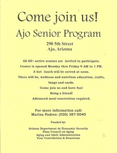 Pima County Congregate Meals for 60+ Seniors @ Community Center | Ajo | Arizona | United States