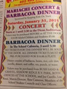 MARIACHI CONCERT & BARBACOA DINNER @ Dicus Auditorium  | Ajo | Arizona | United States