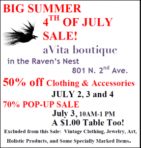 Big Summer 4th of July Sale! @ aVita Boutique in the Raven's Nest | Ajo | Arizona | United States