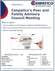 Cenpatico's Peer and Family Advisory Council Meeting!!! @ Desert Senita Community Health Center | Ajo | Arizona | United States